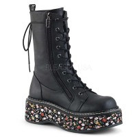 Emily-350 - Black Vegan Leather Floral Fabric