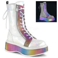 Emily-350 - White Hologram Vegan Leather Rai
