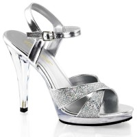 Fabulicious FLAIR-419G - Silver Multi Glitter Clear - 4 1/2 Inch Heel, 1/3 Inch Platform Criss Cross Ankle Strap Sandal Criss Cross Ankle Strap SandalFit Guide: TRUE TO SIZE in Heels & Platforms