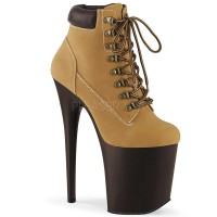 Flamingo-800TL-02 - Tan Nubuck Faux Leather Dark Brown Matte