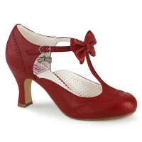 Flapper-11 - Red Faux Leather