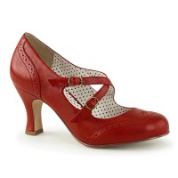 Flapper-35 - Red Faux Leather