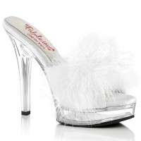 Majesty-501F-8 - White Faux Leather Fur Clear