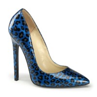 Devious Sexy-20 - Blue Pearlized Patent (Cheetah Print)