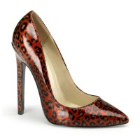 Devious Sexy-20 - Red Pearlized Patent (Cheetah Print) SPECIAL