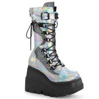 Shaker-70 - Silver Hologram Vegan Leather Black Fishnet