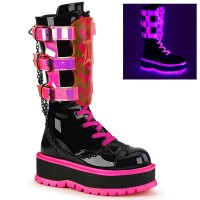 Slacker-156 - Black Patent UV Neon Pink