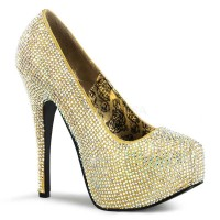 Bordello Teeze-06R - Gold Satin Iridescent Rhinestones