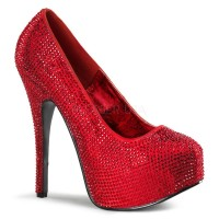 Bordello Teeze-06RW - Red Satin-Red Rhinestones