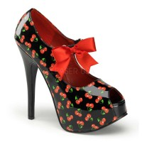 Pinup Couture  Teeze-25-3 - Black Patent (Cherries Print)