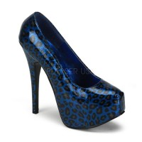 Bordello Teeze-37 - Blue Cheetah Patent