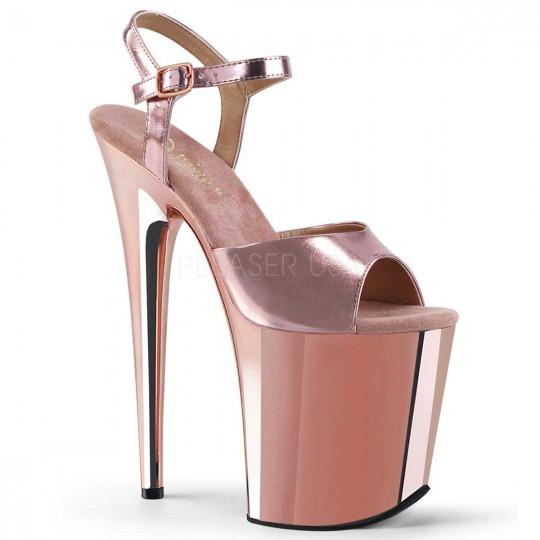 Pleaser Flamingo 809 Cream Patent Ankle Strap Platform Pole Dancing Sandals