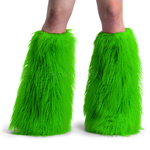 Accessories Yeti-01 - Neon Green Faux Fur - Adult Neon Green Faux Fur Boot Sleeve, Leg Warmer MOQ 3prs, comes with multiple of 3prs in Non-Leather Accessories