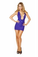 3131 One Piece Cowl Neck Mini Dress in Purple