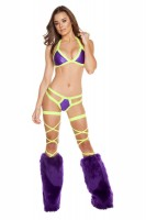 3197 - Purple/Yellow - Two Tone Halter Top with Double Strap Pucker Back Bottom