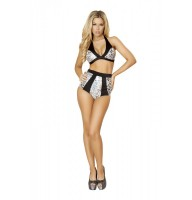 T3123 Silver Leopard Halter Top