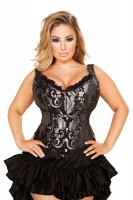 Brocade Corset with Ruffle Trim & Lace up Back