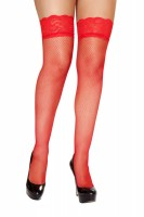 Red Fishnet Stockings with Lace