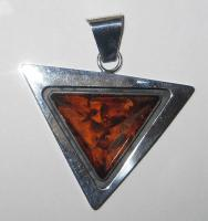 Salwierz Designer Baltic Amber Charm in Silver Triangle
