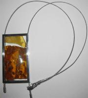 Salwierz Designer Baltic Amber Necklace in Silver Square with Chain