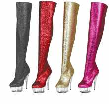Tony Shoes H-2 Glitter - 6 Inch PLATFORM INSIDE ZIP THIGH BOOT (GLITTER) in Thigh High Boots - Platforms