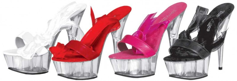 Tony Shoes 392 Fuschia Leather SPECIAL - 6 Inch PLATFORM WRAP UP RIBBON SANDAL in Specials
