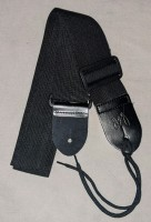 Nylon Guitar and Bass Strap with Genuine Leather Ends - Black